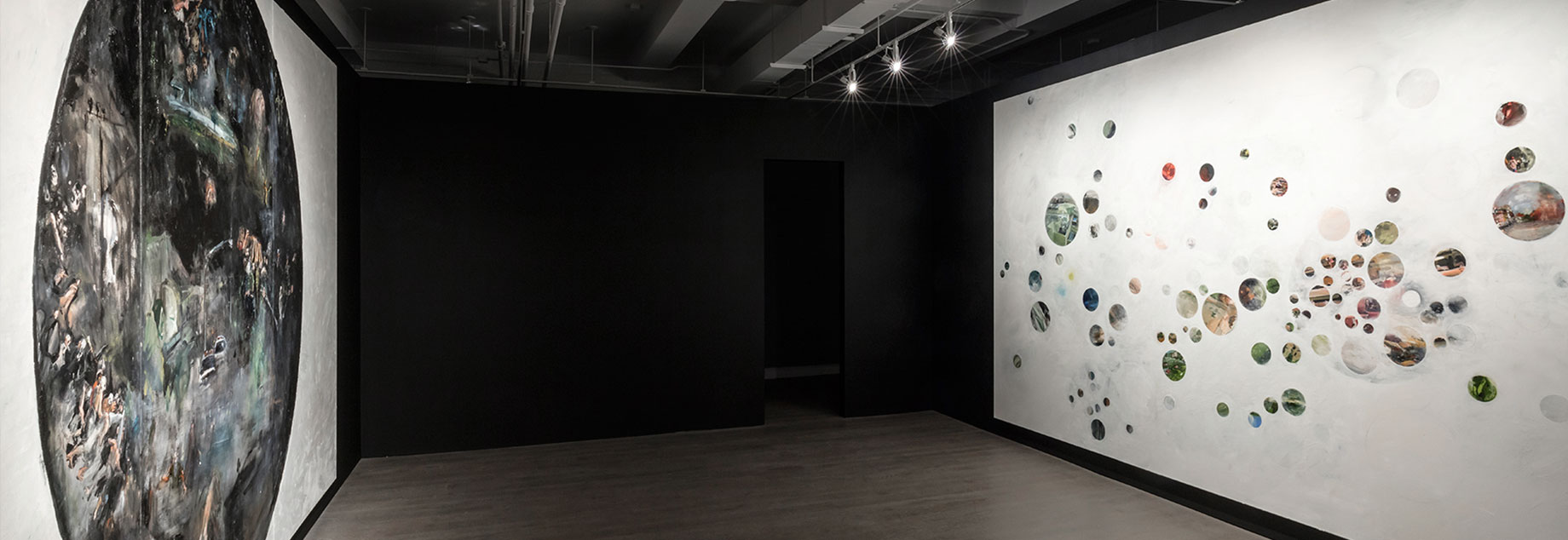 Howard Podeswa, A Brief History, installation view, Heaven (left), Hell (right), 2015.